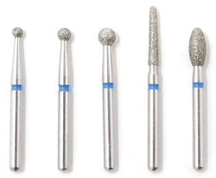 Dental Bur - Assorted Diamond Set - 19mm FG (standard length) - 5 pack